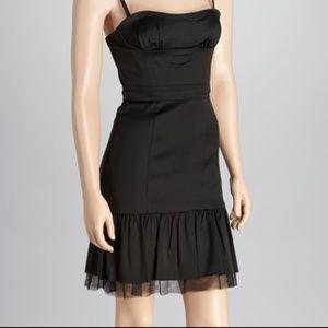 BCBG Black Strapless Satin Tulle Dress, LIKE NEW